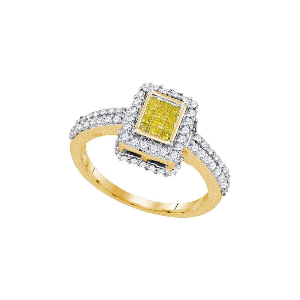 Natural 0.88 ctw Diamond Bridal Ring 10K Yellow Gold -
