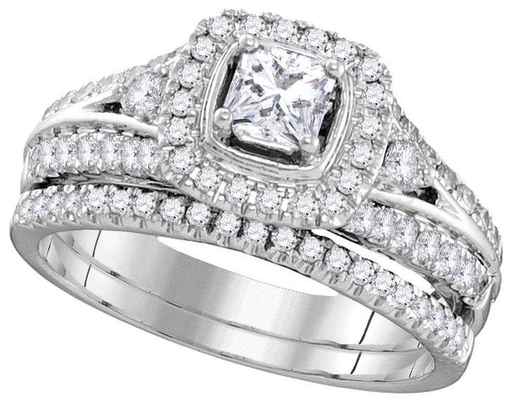 Genuine 1.33 CTW Diamond Bridal Set Ring 14KT White