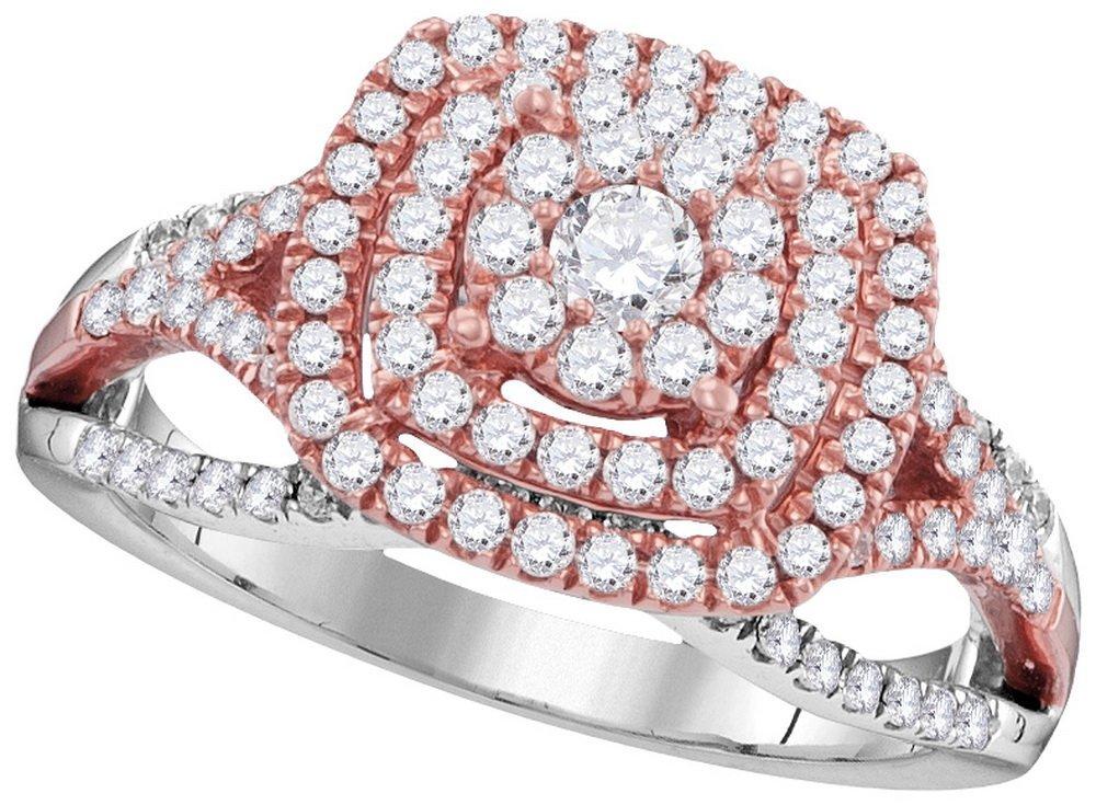 Genuine 1 CTW Diamond Ladies Ring 10KT Two-tone Gold -