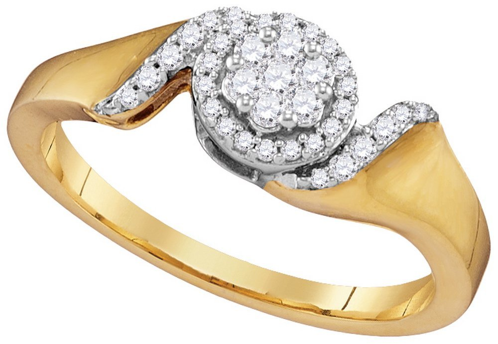 Genuine 0.20 CTW Diamond Ladies Ring 10KT Yellow Gold -