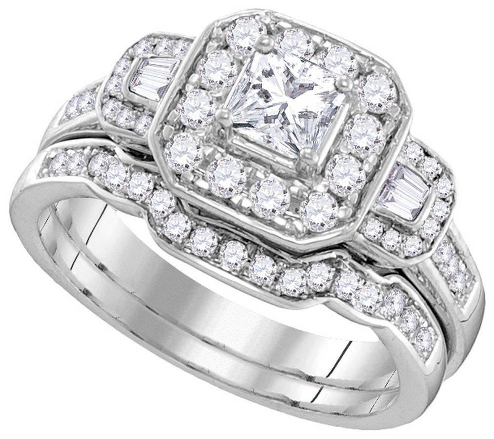 Natural 0.88 ctw Diamond Bridal Set Ring 14K White Gold