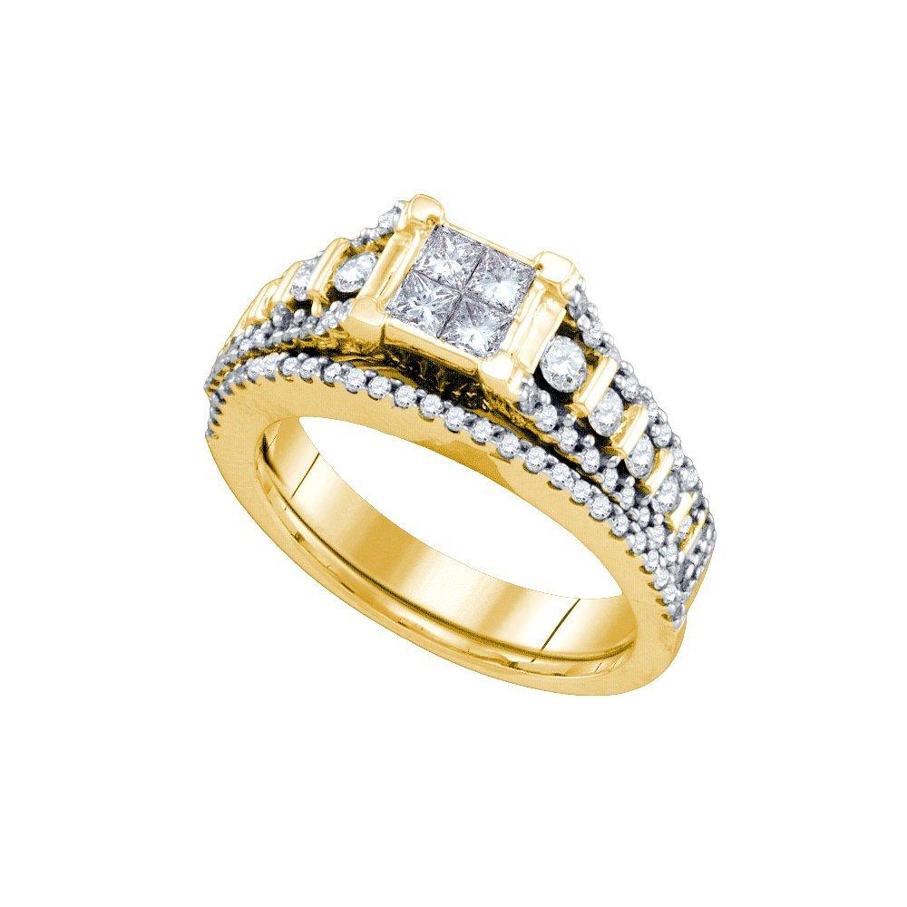 Natural 1.0 ctw Diamond Bridal Set Ring 14K Yellow Gold