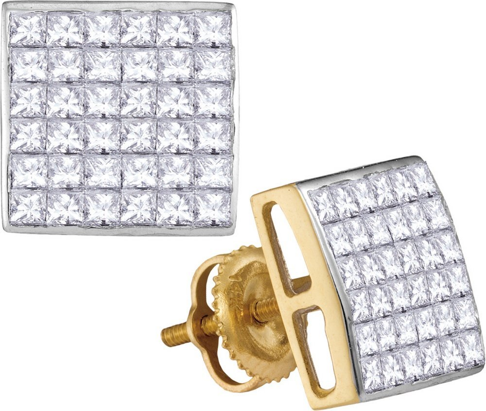 Genuine 1.51 CTW Diamond Earrings 14KT Yellow Gold -