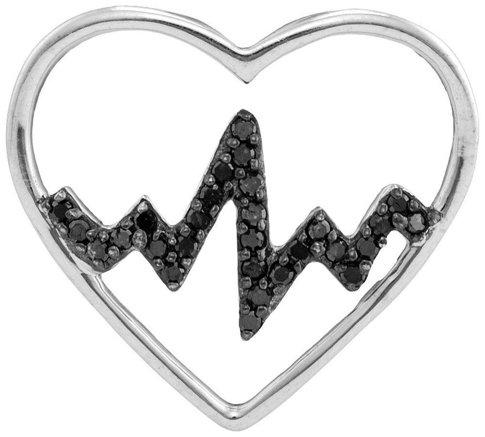 Genuine 0.10 CTW White & Black Diamond Pendant White