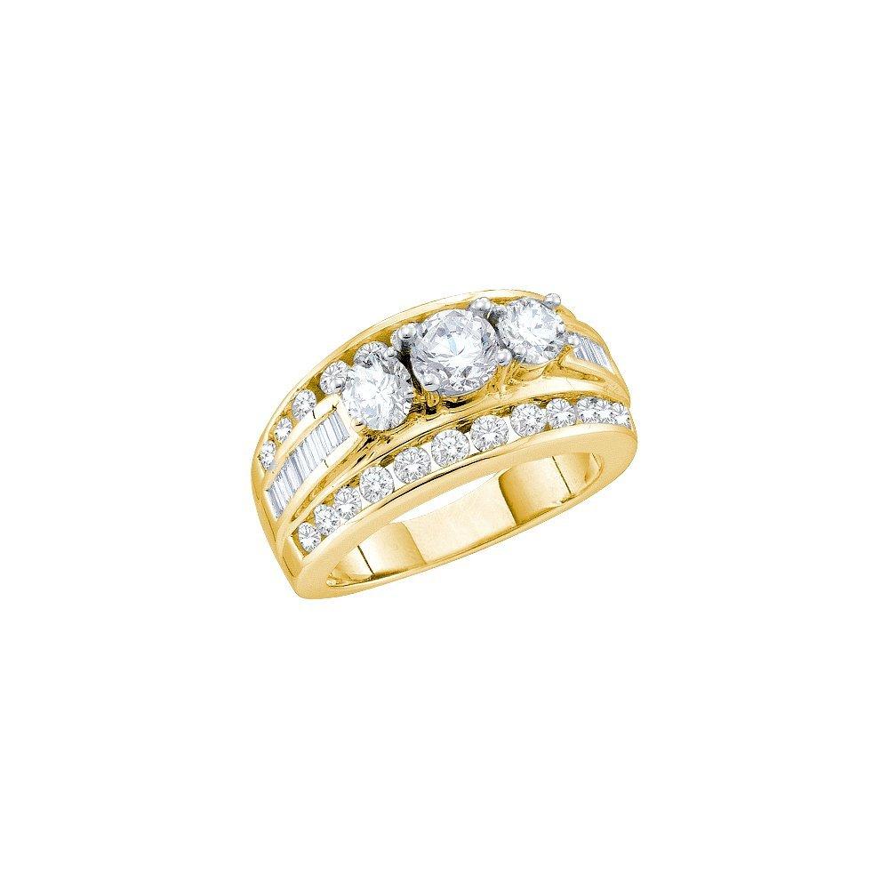 Natural 3.0 ctw Diamond Bridal Ring 14K Yellow Gold -