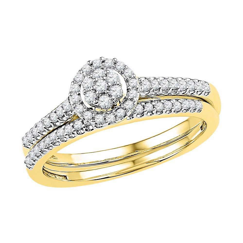 Natural 0.33 ctw Diamond Bridal Set Ring 10K Yellow