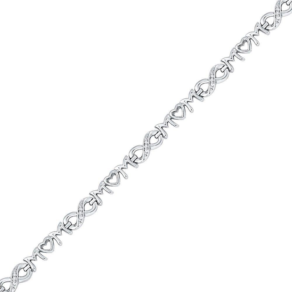 Genuine 0.03 CTW Diamond Bracelet White Rhodium Silver