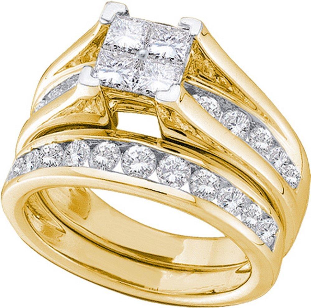 Genuine 0.50 CTW Diamond Bridal Set Ring 10KT Yellow