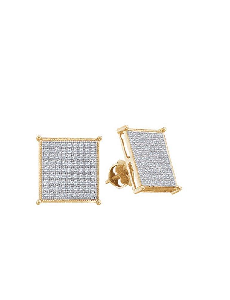 Genuine 0.25 CTW Diamond Earrings 10KT Yellow Gold -