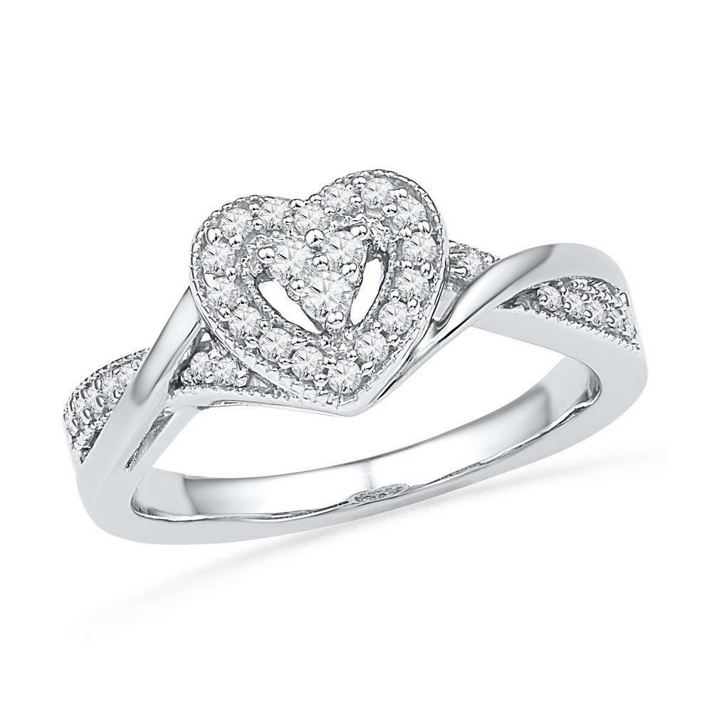 Genuine 0.25 CTW Diamond Ladies Ring 10KT White Gold -