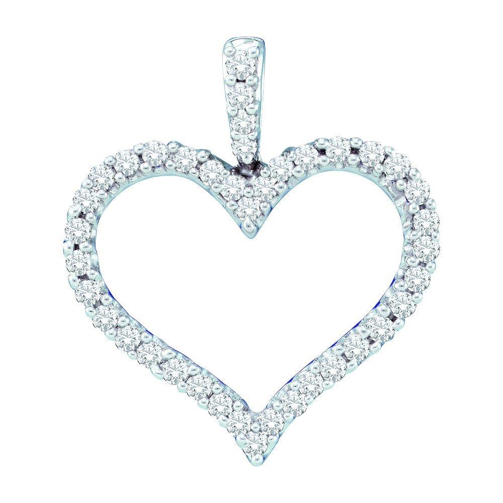 Genuine 0.50 CTW Diamond Pendant 14KT White Gold -