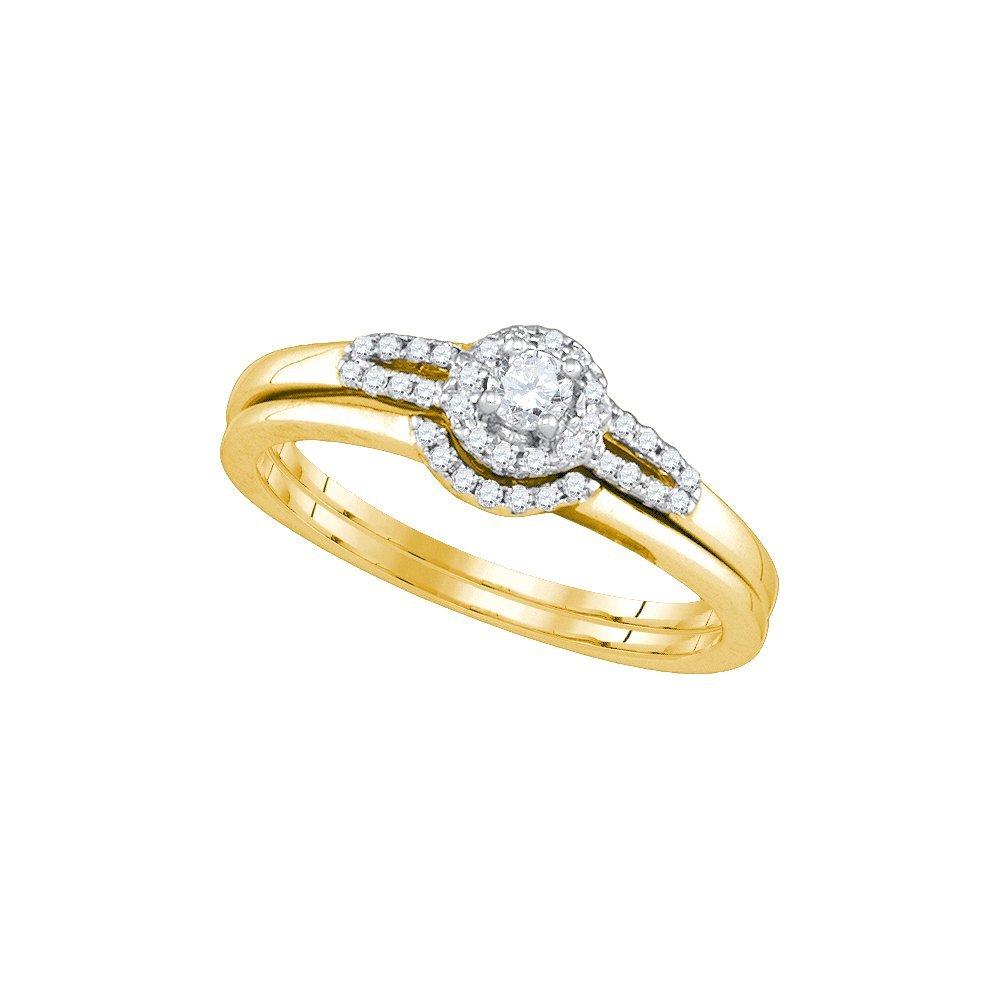 Natural 0.20 ctw Diamond Bridal Set Ring 14K Yellow