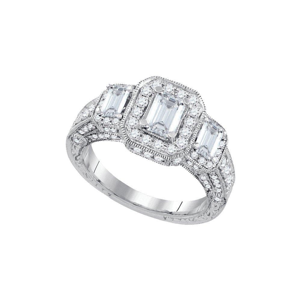 Natural 2.0 ctw Diamond Bridal Ring 14K White Gold -