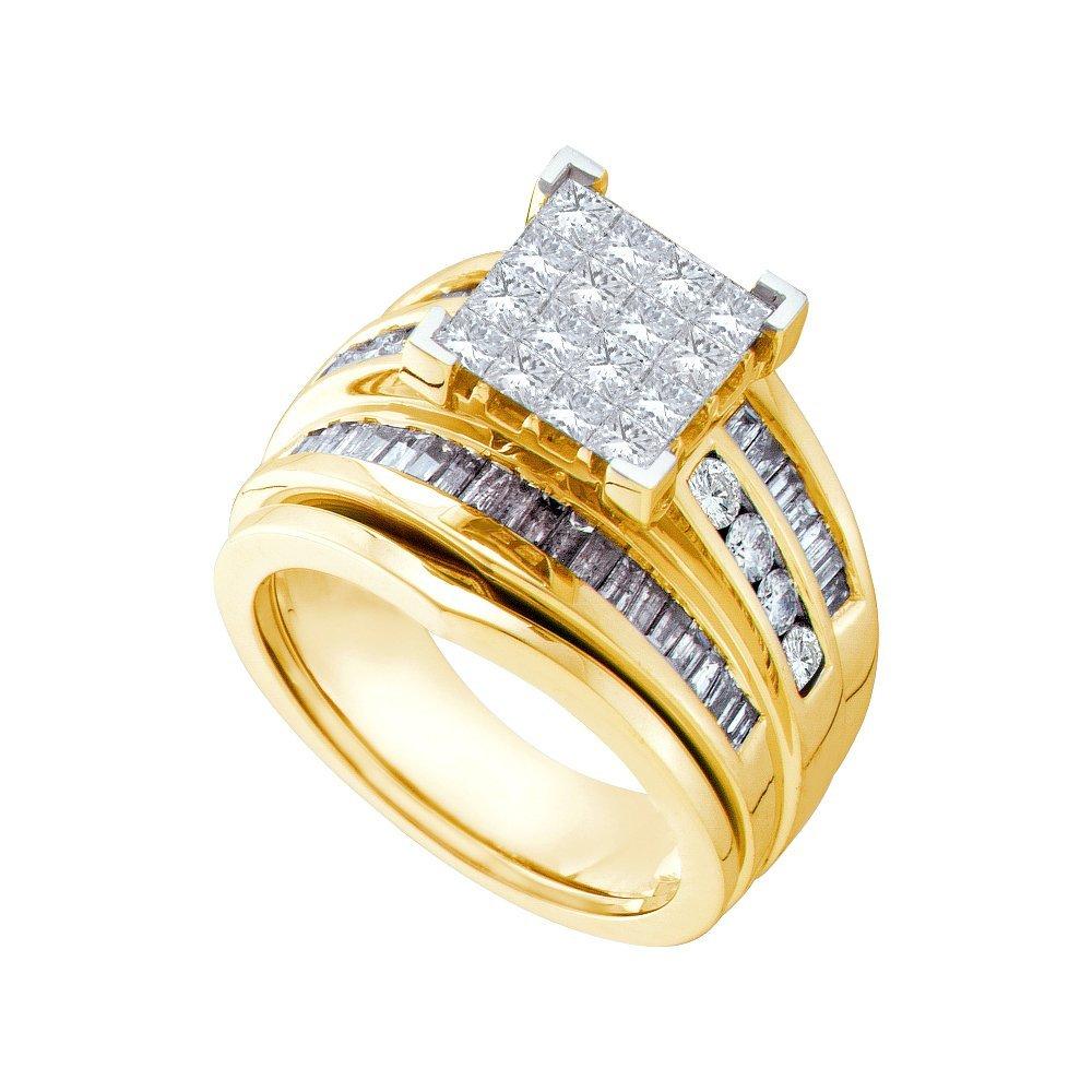 Natural 1.85 ctw Diamond Bridal Set Ring 14K Yellow