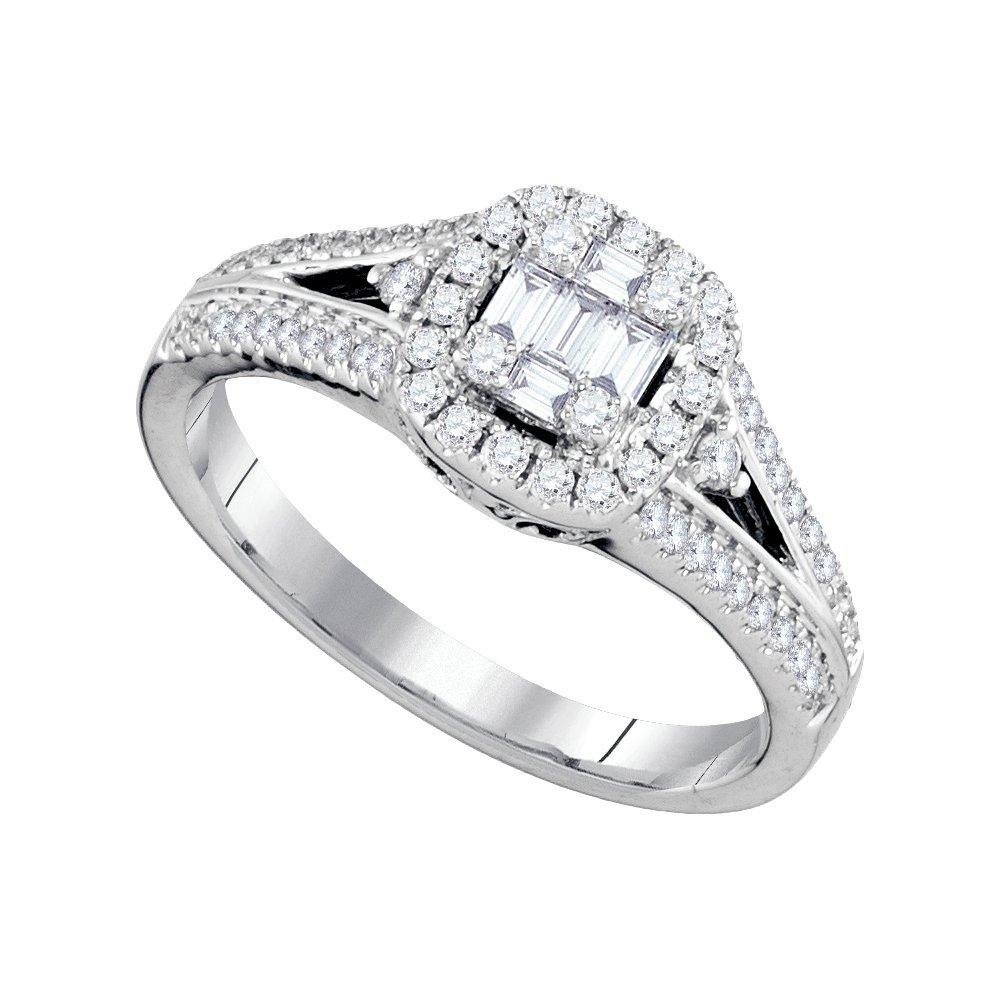 Natural 0.50 ctw Diamond Bridal Ring 18K White Gold -