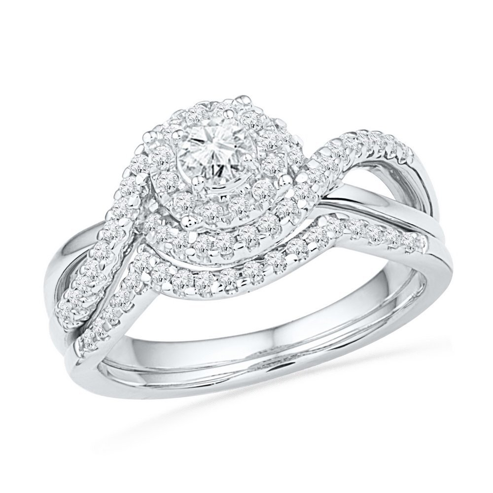 Genuine 0.83 CTW Diamond Bridal Set Ring 10KT White