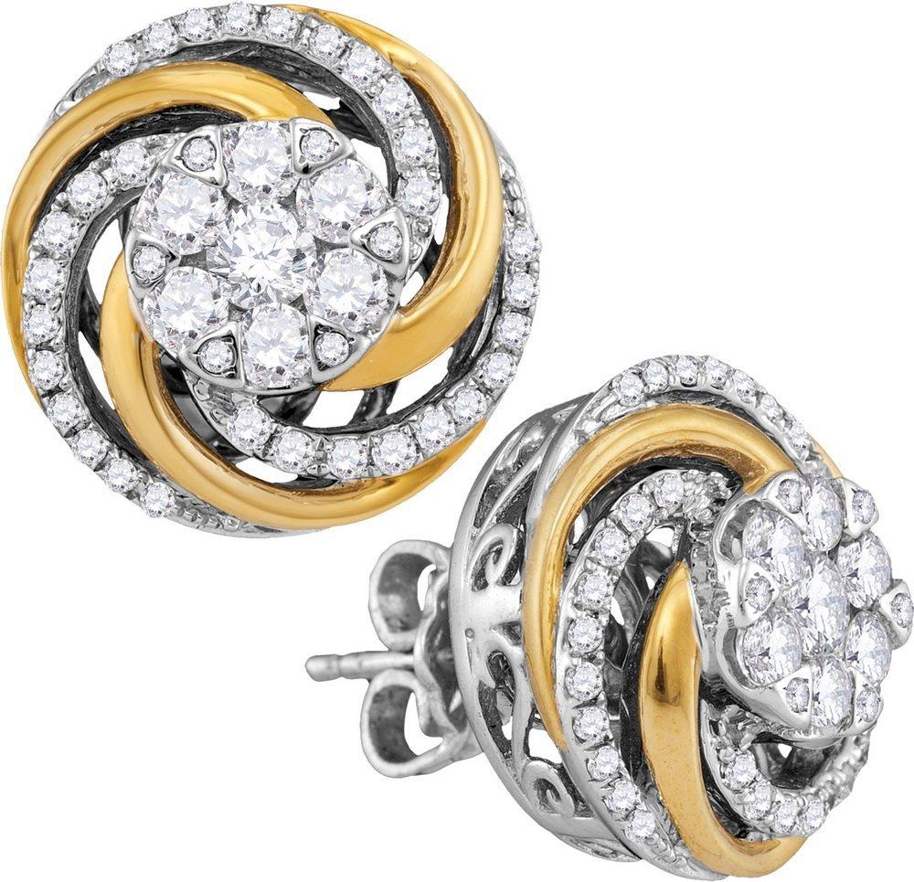 Genuine 1 CTW Diamond Earrings 10KT Two-tone Gold -