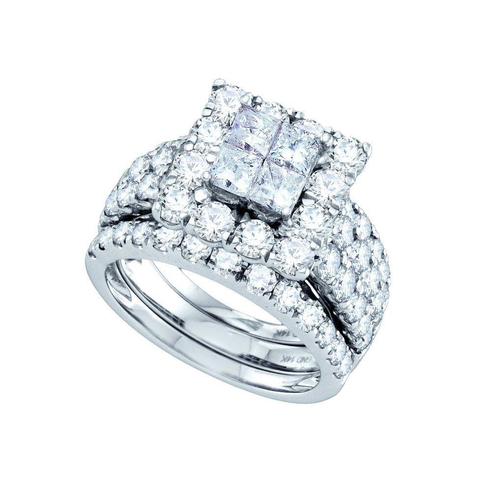 Natural 4.0 ctw Diamond Bridal Set Ring 14K White Gold