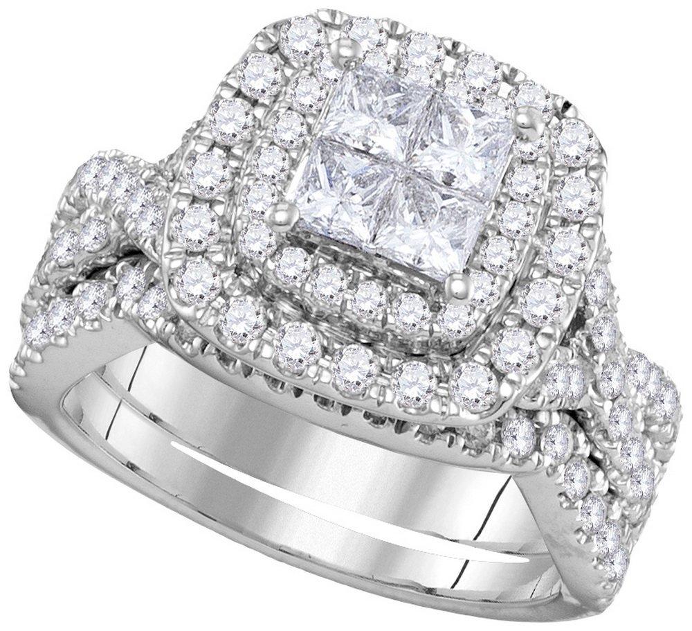 Genuine 2.0 CTW Diamond Bridal Set Ring 14KT White Gold