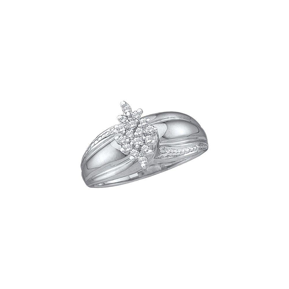 Genuine 0.15 CTW Diamond Ladies Ring White Rhodium