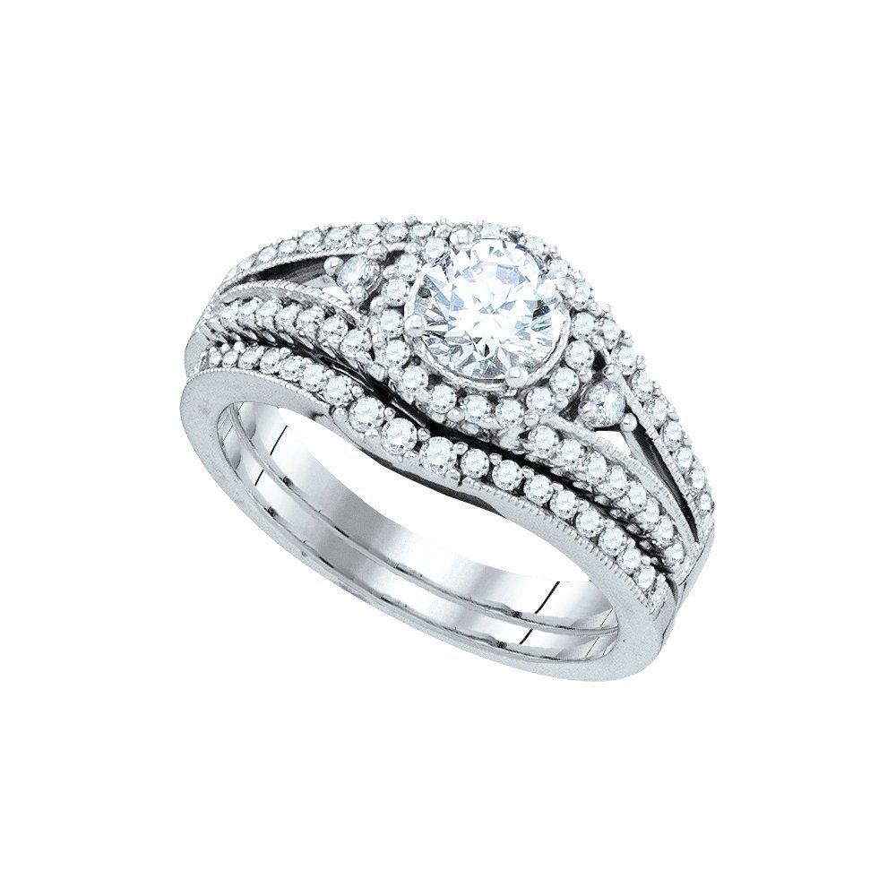 Natural 1.25 ctw Diamond Bridal Set Ring 14K White Gold