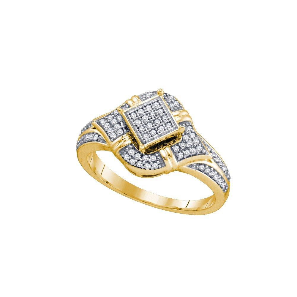 Genuine 0.25 CTW Diamond Ladies Ring 10KT Yellow Gold -