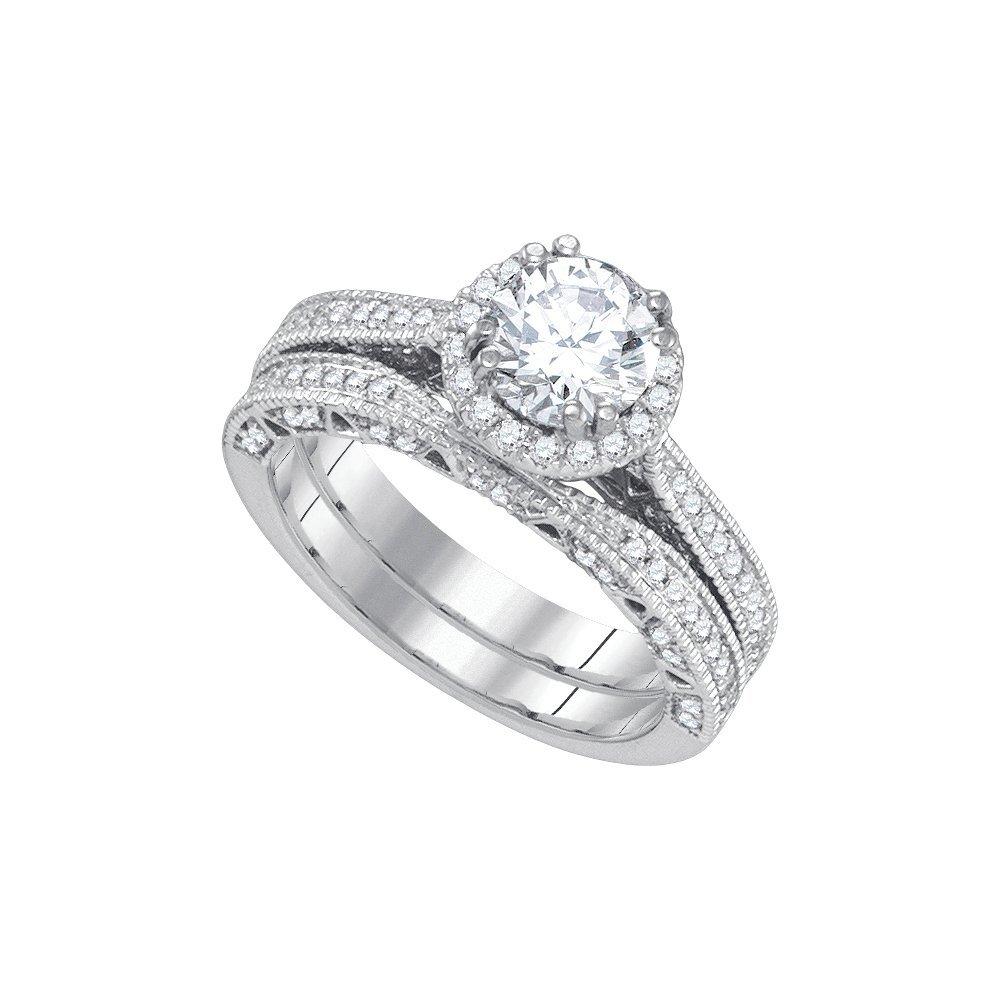 Natural 1.75 ctw Diamond Bridal Ring 14K White Gold -