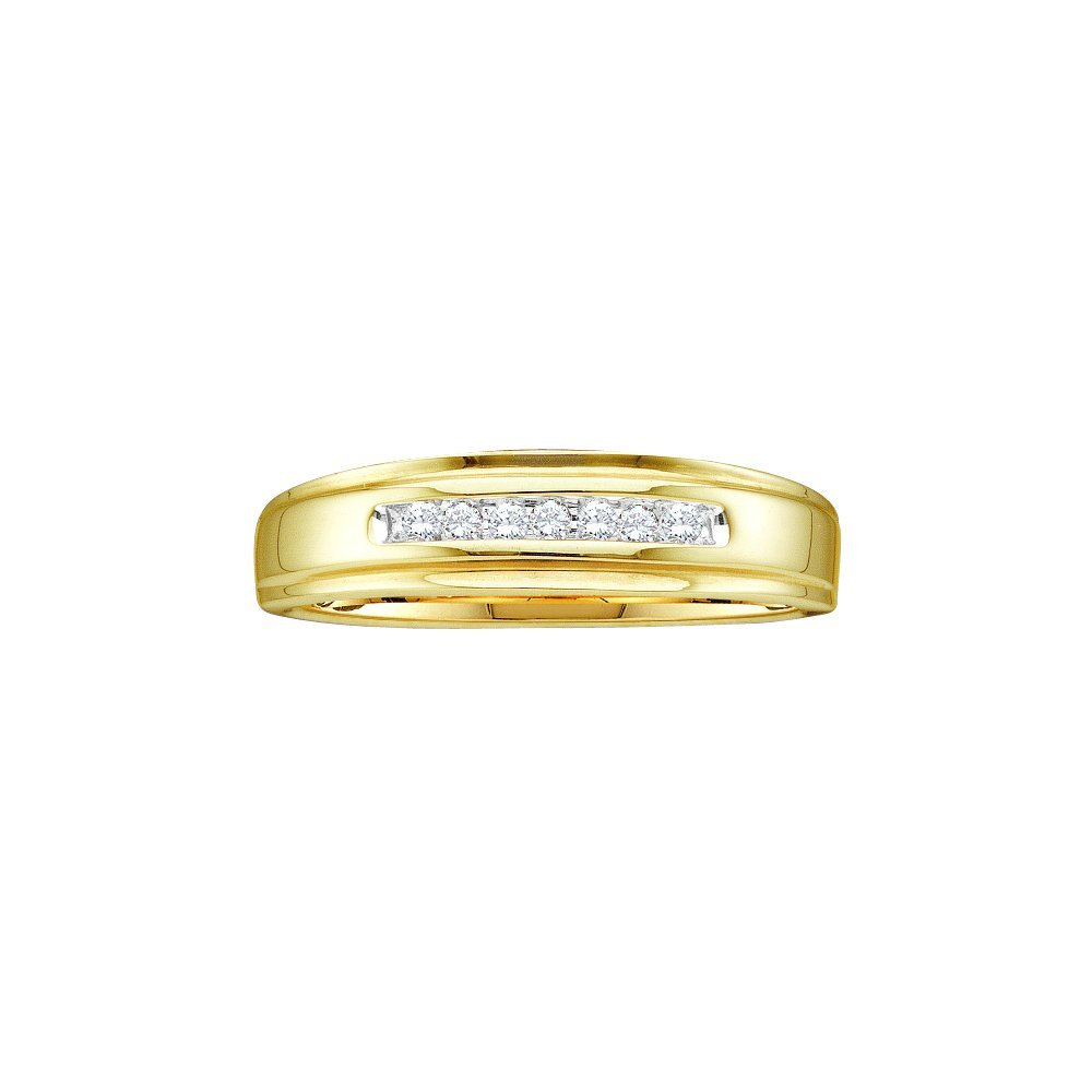Genuine 0.08 CTW Diamond Men's Ring 14KT Yellow Gold -