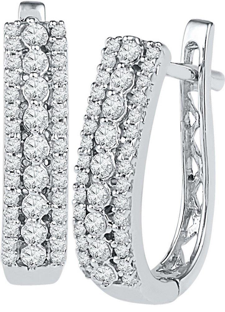 Genuine 0.35 CTW Diamond Earrings 10KT White Gold -