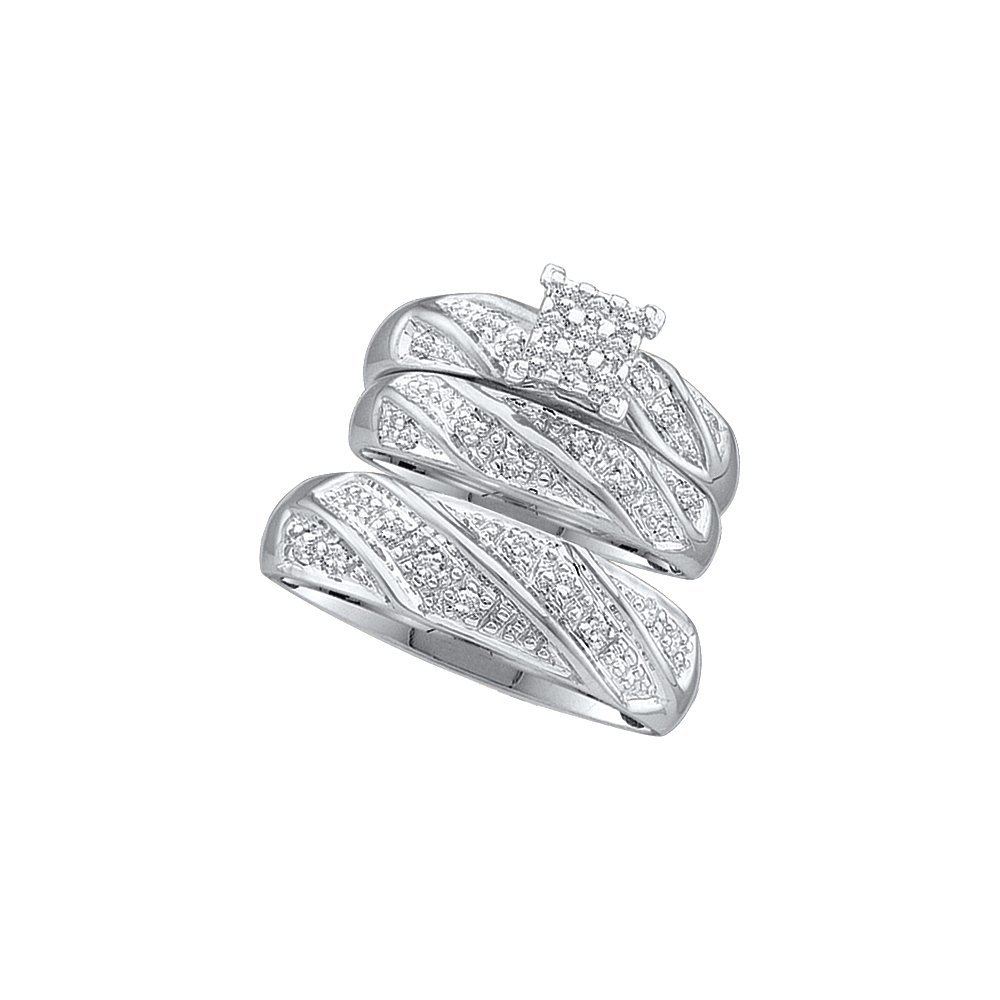 Genuine 0.33 CTW Diamond Trio Set Ring 10KT White Gold