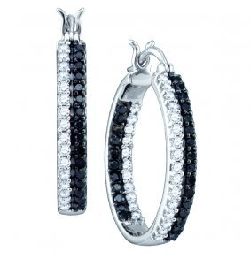 Genuine 1 Ctw White & Black Diamond Hoop Earrings 10kt