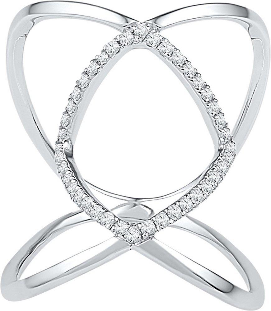 Genuine 0.15 CTW Diamond Ladies Ring 10KT White Gold -