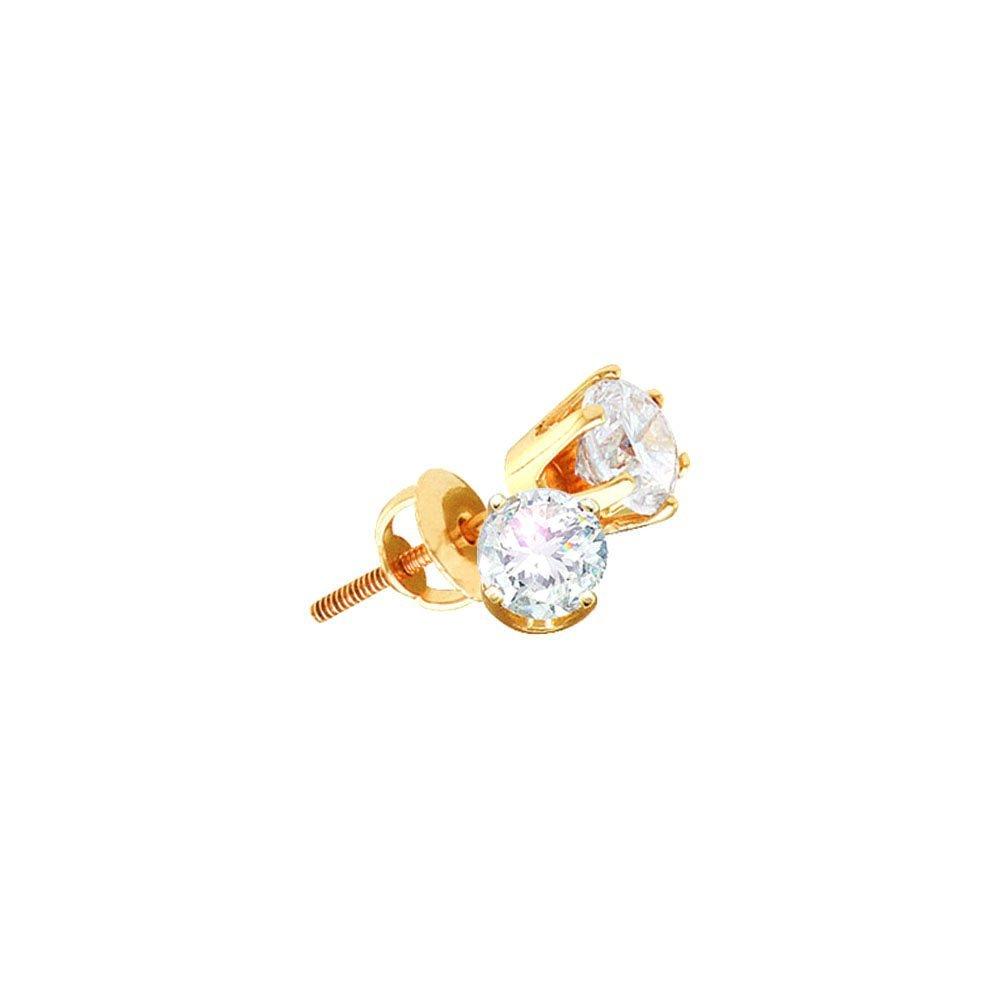 Genuine 1.51 CTW Diamond Stud Earrings 14KT yellow Gold