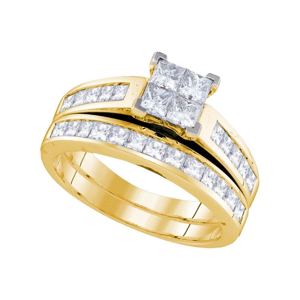 Natural 1.50 ctw Diamond Bridal Set Ring 14K Yellow