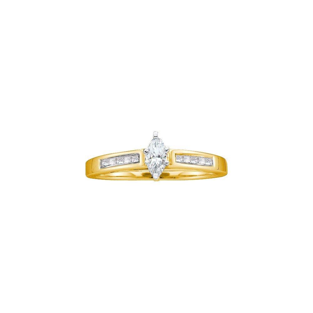 Natural 0.25 ctw Diamond Bridal Ring 14K Yellow Gold -