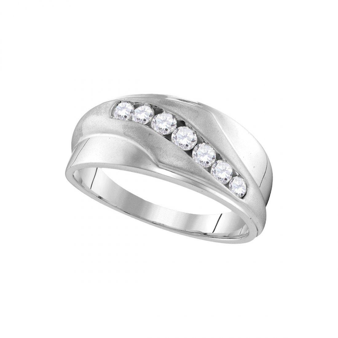 Genuine 0.50 CTW Diamond Men's Ring 10KT White Gold -