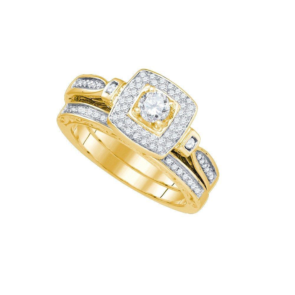 Natural 0.50 ctw Diamond Bridal Set Ring 14K Yellow