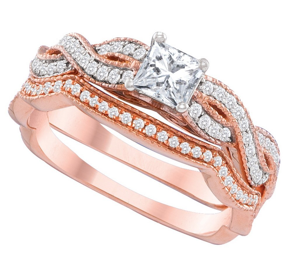 Genuine 1.08 CTW Diamond Bridal Set Ring 14KT Two-tone