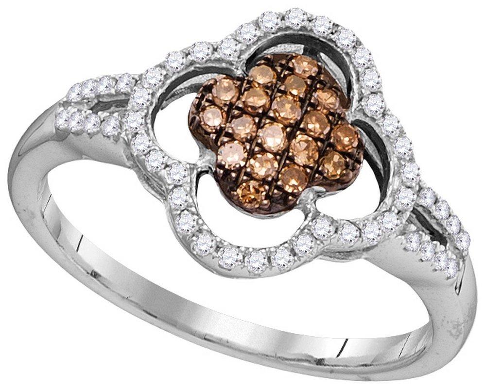 Genuine 0.33 CTW White & Cognac Diamond Ladies Ring