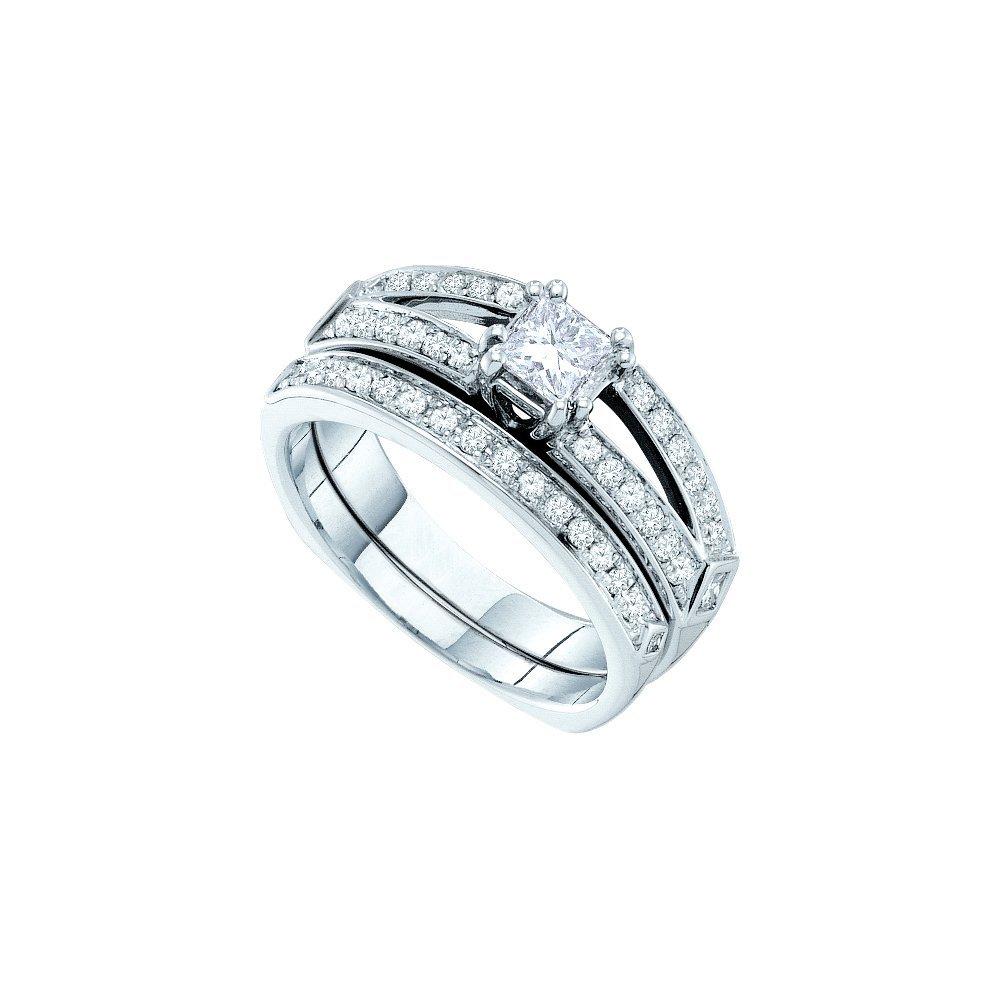 Natural 0.88 ctw Diamond Bridal Set Ring 14K Yellow