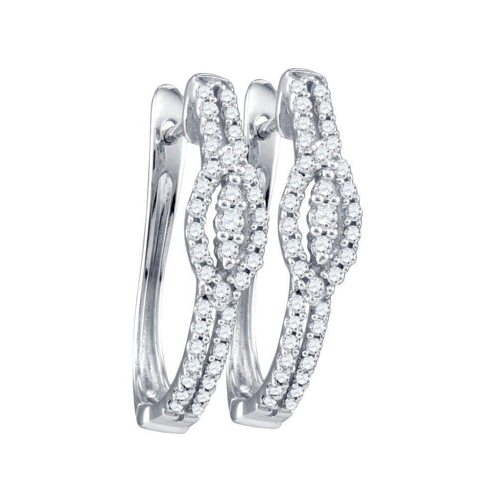 Genuine 0.35 CTW Diamond Hoop Earrings 10KT White Gold