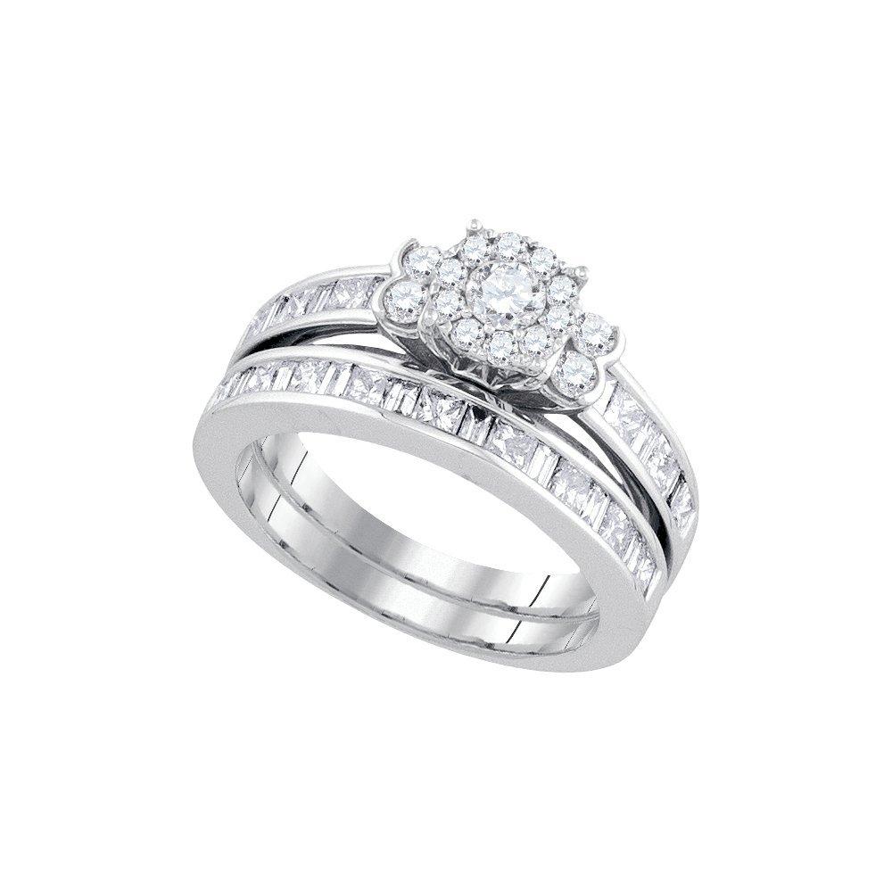 Natural 1.62 ctw Diamond Bridal Set Ring 14K White Gold