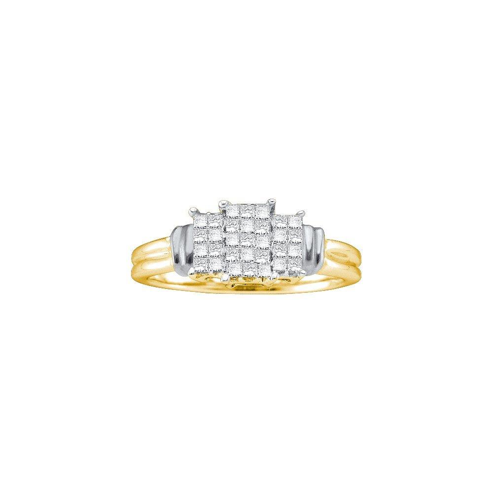 Genuine 0.25 CTW Diamond Ladies Ring 14KT yellow Gold -