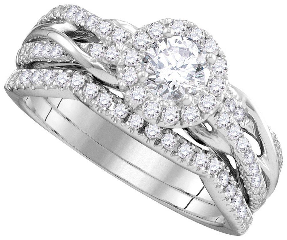 Genuine 1.37 CTW Diamond Bridal Set Ring 14KT White
