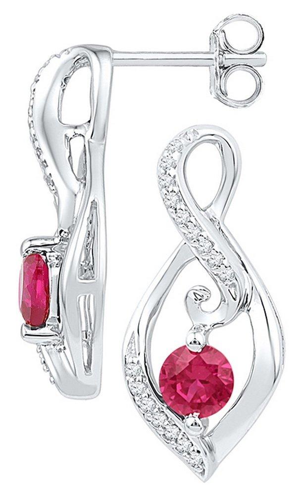 Genuine 0.95 CTW Ruby & Diamond Earrings 10KT White