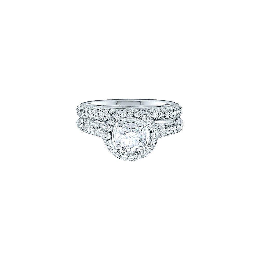 Natural 1.25 ctw Diamond Bridal Set Ring 14K Yellow