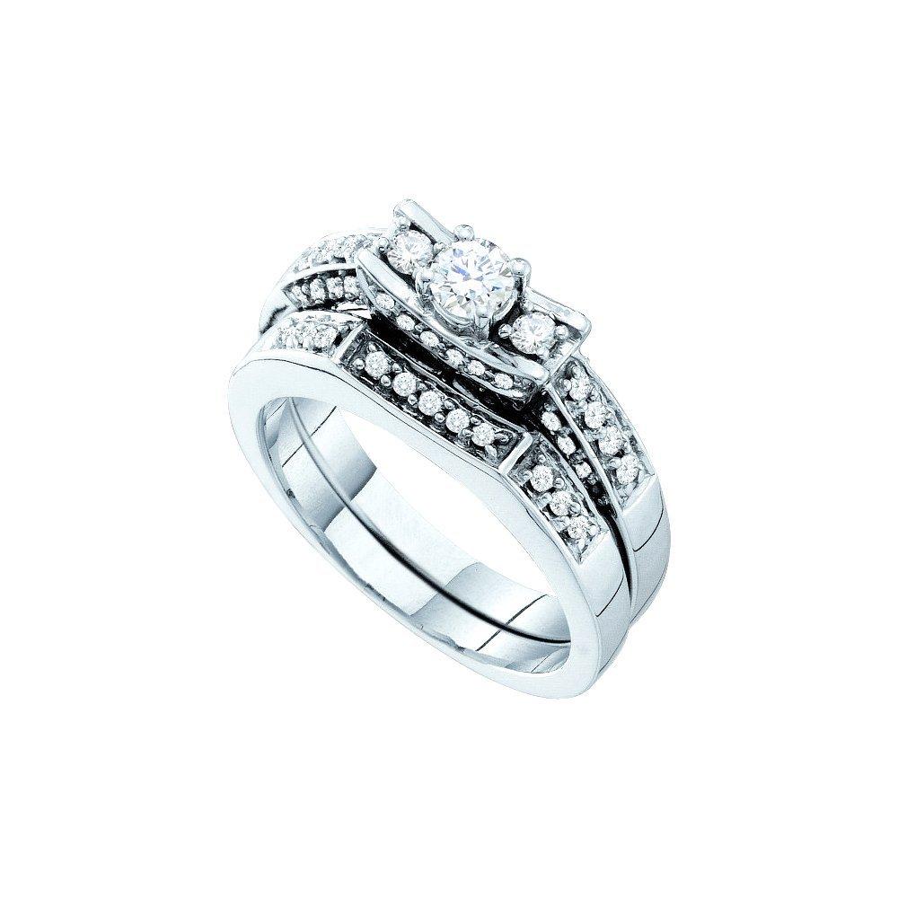 Natural 0.63 ctw Diamond Bridal Set Ring 14K White Gold