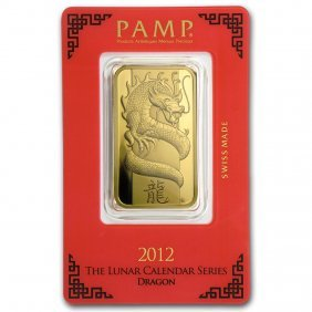 One Pc. 1 Oz .9999 Fine Gold Bar - Pamp Suisse Year Of