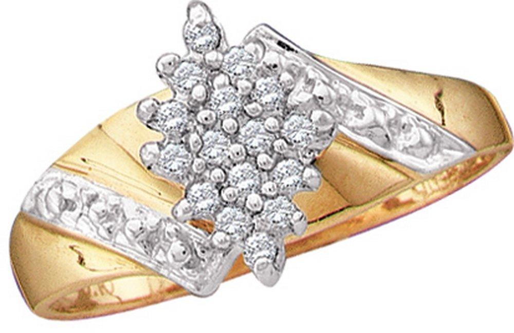 Genuine 0.10 CTW Diamond Ladies Ring 10KT Yellow Gold -