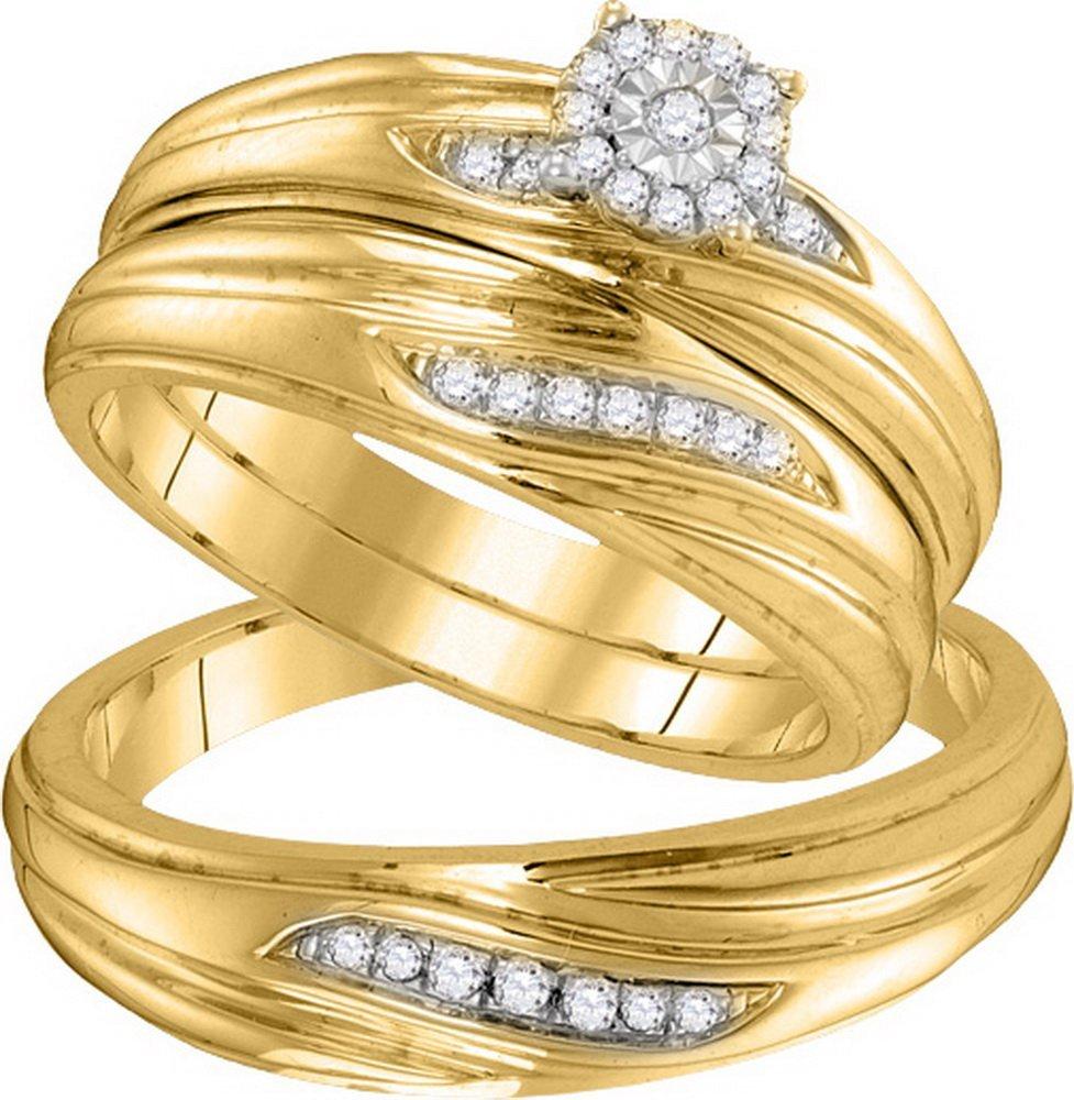 Genuine 0.20 CTW Diamond Trio Set Ring 10KT Yellow Gold
